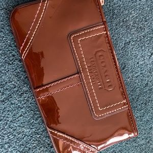 Coach Wristlet - brown patent leather